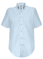 Short Sleeve button down collar, six button placket front, left chest pocket with reinforced pencil vent and name badge eyelets.
